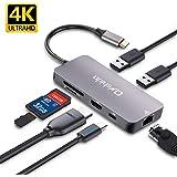 USB C ハブOnshida USB Type C 変換USB-C ハブLAN 1000Mbps 4K HDMI 出力 100W PD充電対応USB3.0*2 ハブSD/TFカードリーダー Type C ハブ有線LAN アダプターMacBook MacBook Pro ChromeBook HP Spectre Surface GOなど対応(アルミニウム グレー)