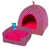 Ninkipet(ニンキペット)ペット ハウス ドーム型 2WAY 室内用 ペットベッド マット付き 快適 ふわふわ 通気性良い 暖かい クッション 夏冬 通年利用 中小型犬/猫用 (M, ピンク)