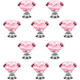 Crystal Glass Cabinet Knobs, PAPRMA 10 Pcs 30mm Diamond Shape Pulls Handles for Drawer Kitchen Cabinets Dresser Cupboard Ward