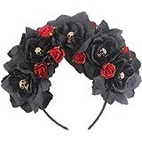 DreamLily Dia de Los Muertos Day of The Dead Headpiece Frida Kahlo Mexican Flower Crown Ribbon Headband Party Costume NC22
