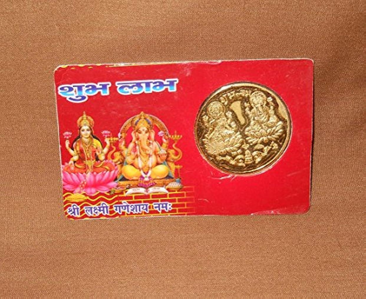 致命的なやけど少数Sacred Blessed Subh Labh Lakshmi GaneshヤントラCoin – Luck Money Laxmiガネーシャ