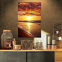 """デザインアート鮮やかなイエロー太陽とCalm波Seashoreキャンバス壁アート 16x32"""" イエロー PT10562-16-32"""