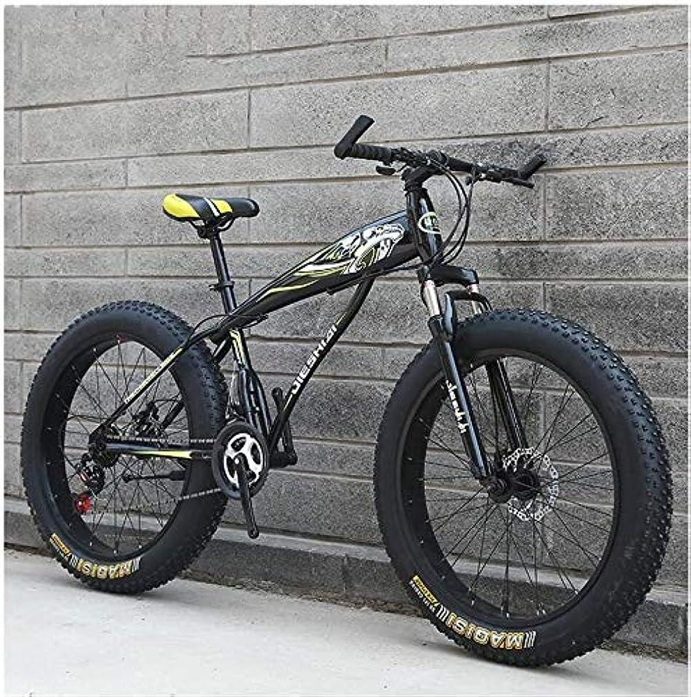 腰国民限定H-ei 大人のマウンテンバイク、男の子女の子ファットタイヤマウンテントレイルバイク、デュアルディスクブレーキハードテイルマウンテンバイク、高炭素鋼のフレーム、自転車 (Color : Yellow B, Size : 24 Inch 27 Speed)