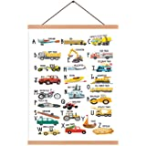 Natural Wood Magnetic Hanger Frame Poster- English Alphabet Canvas Wall Art Print Cartoon Traffic Tools Painting 28X45cm Fram