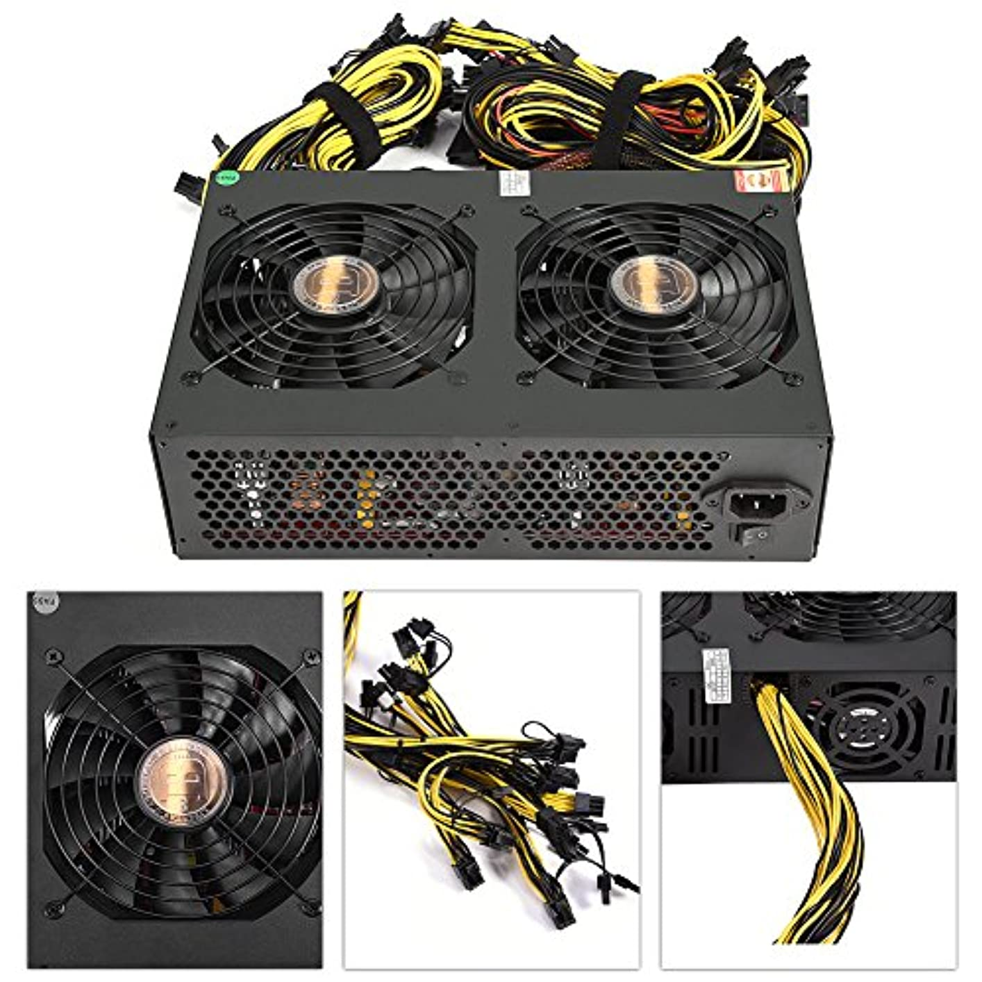 溶けるクラシカル現金VBESTLIFE 3450WマイナーATX電源 コンピュータデュアル140mmファン 24Pin/8Pin/Dタイプ/IDE/SATA/12V 6 + 2Pinコネクタ付く Bitcoin/Litecoinマイニングマシン適用
