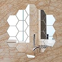 【12枚セット】壁貼りシール 鏡シール インテリア鏡貼 浴室 化粧 壁 装飾ミラー 装飾 DIY 六角形 安全 割れない 折れない 鏡効果 おしゃれ 空間節約 (1.2mm, 12)