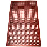 New Star 1 pc Heavy Duty Red 36x60 inch Restaurant/Bar Grease Resistant Rubber Floor Mat
