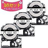 テプラ 白 テープ 互換 キングジム テプラpro 6mm 9mm 12mm テープカートリッジ SS6K SS9K SS12K,キングジム ラベルライター テープ SR250 SR150 SR170 SR-GL2 SR-GL1など用, 3個セット