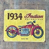 ブリキ看板「1934 Indian」 アメリカン ガレージ アンティーク レトロ