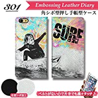 301-sanmaruichi- iPhone8 ケース iPhone8 ケース 手帳型 おしゃれ -SURF series5- Surf Kids サーフキッズ サーフィン サイケデリック&アート ロゴ A シボ加工 高級PUレザー 手帳ケース ベルトなし