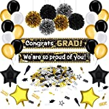 卒業パーティーデコレーションキット 36ピース ブラックとゴールド 卒業パーティーサプライヤー 卒業式バナー 卒業バルーン ポンポン 花と紙吹雪