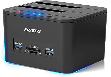 """FIDECO HDDスタンド USB 3.0接続2.5/3.5""""HDD SSDスタンド デュアルベイドック オフラインクローン機能付き SATAドライブ,TF&SDポート最大容量2x 12 TB対応"""