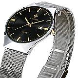 WWOOR 腕時計 ラウンドスリム 薄型 ビジネス クォーツ時計 防水 男性 黒色