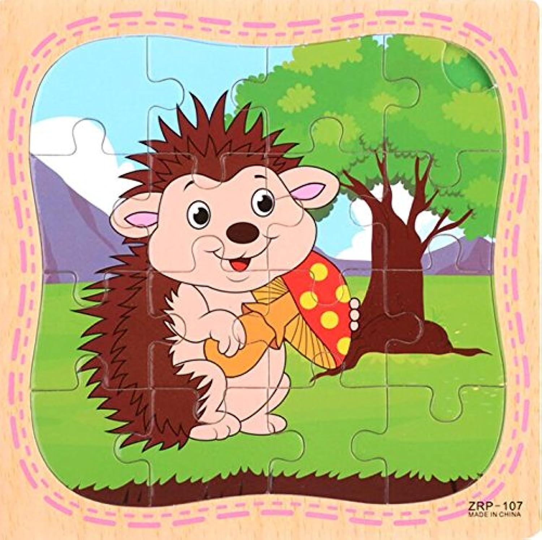 HuaQingPiJu-JP 創造的な木製の動物の教育パズルアーリーラーニング番号の形の色の動物のおもちゃキッズのための素晴らしいギフト(ヘッジホッグ)