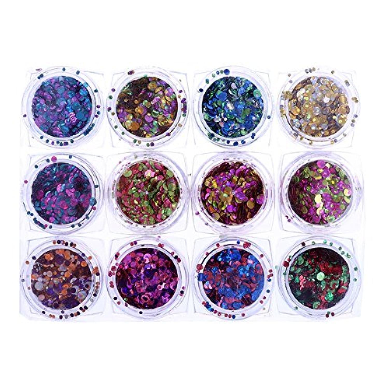 同等の病的運ぶDemiawaking ネイルアート キラキラネイルスパンコール マニキュアネイルアートデコレーション 12種類/セット ブリオー ネイル デコ用 人気セット