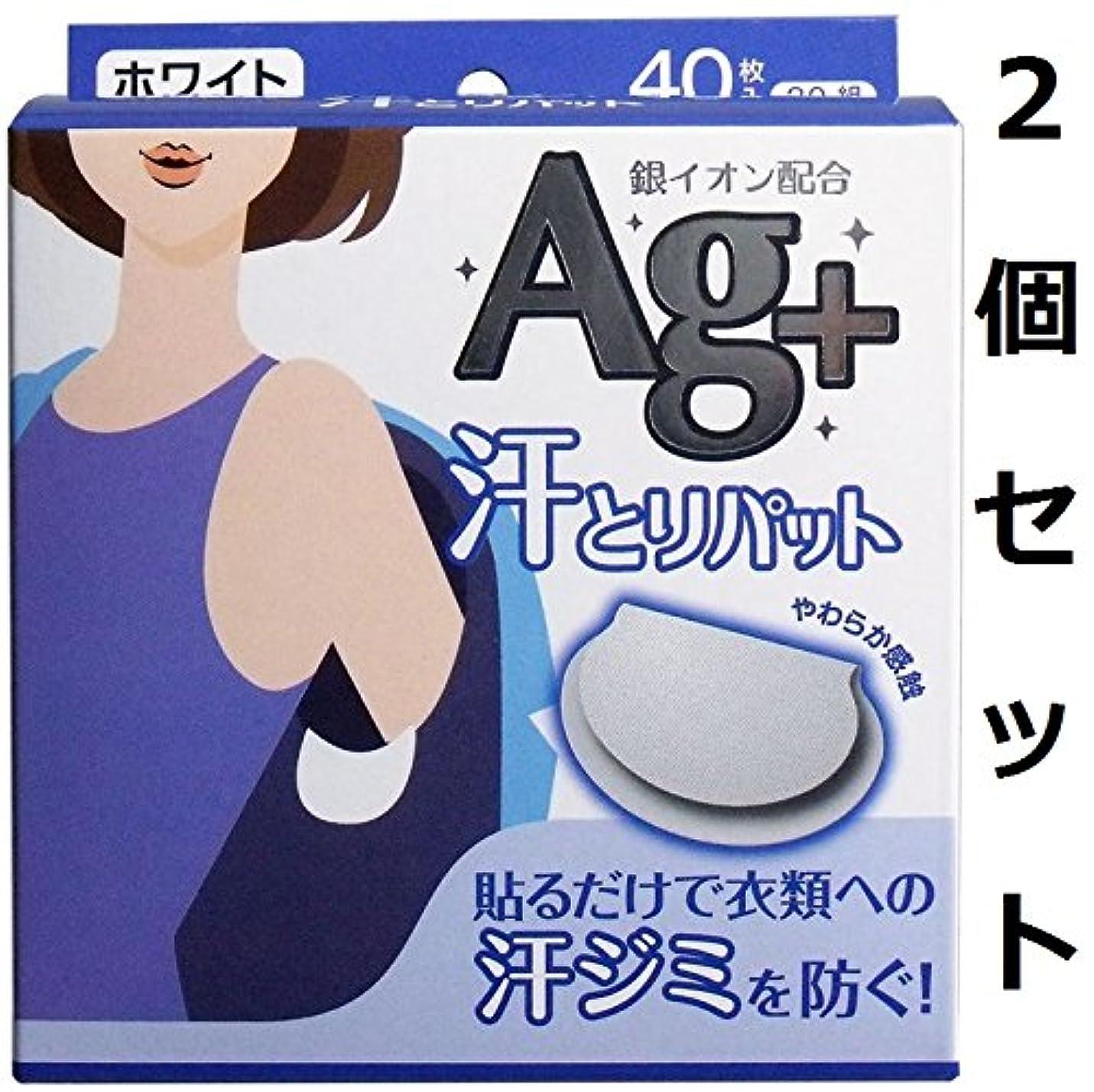 くちばし不条理アミューズメント衣服に貼り付けやすいハーフスリットの剥離紙 汗とりパット 銀イオン ホワイト 40枚(20組)入 2個セット