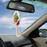 tyoungg 17 inch Mini Car Hanging 1 Pcs Handmade Rear View Mirrior Charm Car Decorations Boho Hanging Planter with Pot and Pla