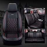SOGLOTY Auto Car Seat Covers Full Set, Universal Fit 5 Seats with Airbag Compatible, Waterproof PU Leather Cushion Cover Prot