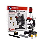 Jiusion Kid Microscope Science Kits, 100X 400X 1200X Trinocular Magnification Beginner Science Toy Home School Educational Sc