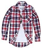 (クラベルテ) crbelte メンズ チェック 柄 シャツ長袖 ネルシャツ 選べる8色 (M, 赤×白)