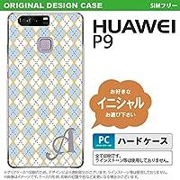 P9 スマホケース HUAWEI ケース ファーウェイ ピーナイン イニシャル アーガイル 青×グレー nk-p9-1413ini N