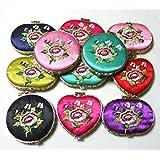 とても可愛い刺繍柄 化粧鏡 (3pセット)ハンドミラー(楕円・ハート・丸形) 中国雑貨民芸品