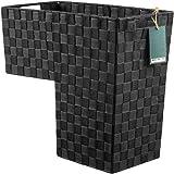 HomeModele Step Basket Stair Storage Basket Organizer with Handles Nylon-Woven (Black) Dark Grey