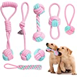 Itsforthedogs Pink Dog Rope Toys Dog Puppy Set, Durable Dog Teething Natural Cotton Rope Chew Toy for Chewing Teeth Cleaning