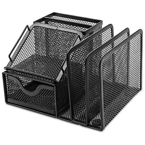 PLEMO 卓上収納 文具収納 デスクオーガナイザー ペン立て オフェス用品 整理 7格 黒 OR-01