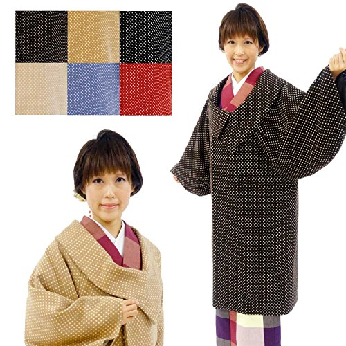 kimono awawa(きもの阿波和) 選べる6色 アンゴラ混 ウール 和装コート 水玉 ドット柄 ロール衿 お仕立て上がり F:ベージュ