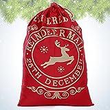 bennyue クリスマス ギフトバッグ 巾着袋 ラッピング袋 包装バッグ クリスマス 飾り 大きめクリスマスプレゼント袋 キャンバス製 耐久性 カントリー 包装用祝日ギフト 収納 おしゃれ 可愛い子供、男女用 クリスマス (トナカイ レッド)