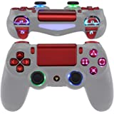 eXtremeRate Multi-Colors Luminated D-pad Thumbstick Trigger Home Face Buttons, Scarlet Red Classical Symbols Buttons DTFS (DT