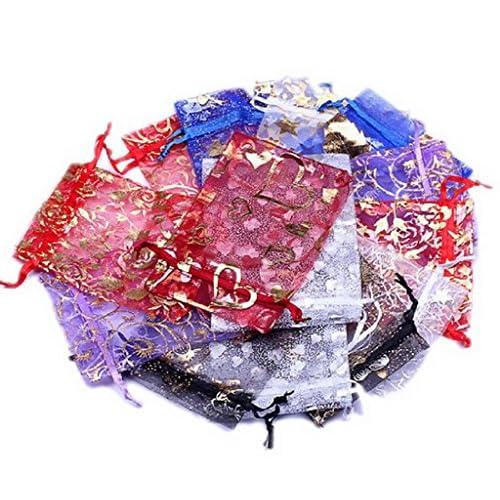 EOZY ジュエリーの保存やプレゼントに♪オーガンジー 混色 無地 星、ラブハート花柄 巾着袋9*12cmサイズ100枚セット 贈り物 プレゼント袋XFU2
