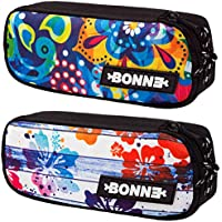 """Bonne ('bone') Graphic Art Pouch - Set Of 2 - """"Hula""""/""""Aztec"""" """"Crystal"""" - Pencil Case for School Backpack For Crayons, Pencils, Markers, Erasers, Pens, Toiletry Bag Makeup Case Pencil Case Jewellery pouch - Universe Series"""