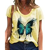 zeyubird Womens Casual Short Sleeve V Neck T Shirt Butterfly Graphic Printed Top Summer Tee for Women