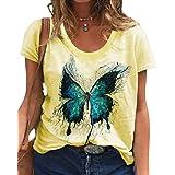 zeyubird Womens Casual Short Sleeve V Neck T Shirt Butterfly Graphic Printed Top Summer Tee for Women