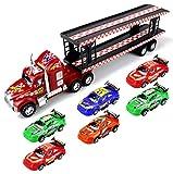 MVPチャンピオントレーラー子の摩擦Toy Semi Truck w / 6を実行する準備Toy Cars ( Colors May Vary )