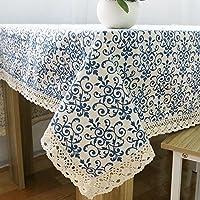 Efine 家具を家具に飾る 春は清新なスタイル麻綿テーブルクロス食ふきんカバー布ピクニック布 (140x200 CM, 白靑花磁器)