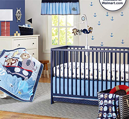 Abreeze 7-Piece Nursery Baby Bedding Set Nautical Crib Bedding Set for Boys Baby Cot Ocean Themed Bedding Set