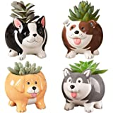 Animal Succulent Plant Pots, Buymax Mini Doggy Shape Succulent Planter Handmade Ceramic Plant Pot - Cute Dog Planter for Plan