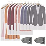 Perber Hanging Garment Bag Lightweight Clear Full Zipper Suit Bags (Set of 10) PEVA Moth-Proof Breathable Dust Cover for Clos