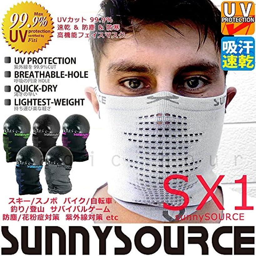夜支出スモッグフェイスマスク UVカット ネックウォーマー スキー スノーボード バイク スノボ サバゲー 登山 速乾 防寒 花粉症対策 sunnySOURCE サニーソース SX-1 メンズ レディース 紫外線 日焼け対策 自転車 釣り