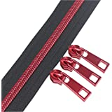 YaHoGa #5 Red Teeth Metallic Nylon Coil Zippers by The Yard Bulk 10 Yards with 25pcs Red Sliders for DIY Sewing Tailor Craft