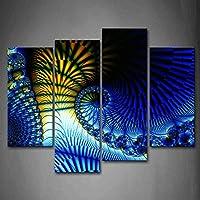 最初のキャンバスの壁アート–フラクタルブルーイエローSpirals壁アート絵画プリント抽象画像ホーム装飾ギフト 12x26inchx2Panel,12x35inchx2Panel 8216176F