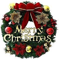 クリスマス リース オーナメント クリスマス 飾り かわいい 壁掛け ドアチャーム 玄関 ドア インテリア リボン 花 鈴 ベル 30CM