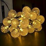CrazyFire ソーラーLEDイルミネーションライト 30球6m バブル型 シャンパンゴールド