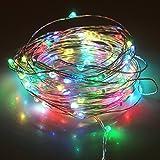 B2ocled LEDイルミネーションライト ピカピカ RGB点滅式 コンセント式 防水防滴 10m ストリングライト 電源アダプタ付け(マルチカラー)