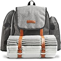 (4 Person) - VonShef Ash 4 Person Picnic Backpack Bag With Blanket - Premium Woven Grey Finish & Leather-style Detailing, Includes 29 Piece Dining Set, Cooler Compartment & Extra Side Pockets