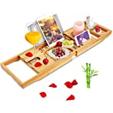 BRITOR Bathtub Caddy Trays - Premium Bamboo Bath Trays with Extending Sides, Reading Rack, Tablet Holder, Cell Phone Tray and