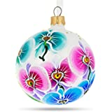 BestPysanky Multi-color Orchids Glass Ball Christmas Ornament